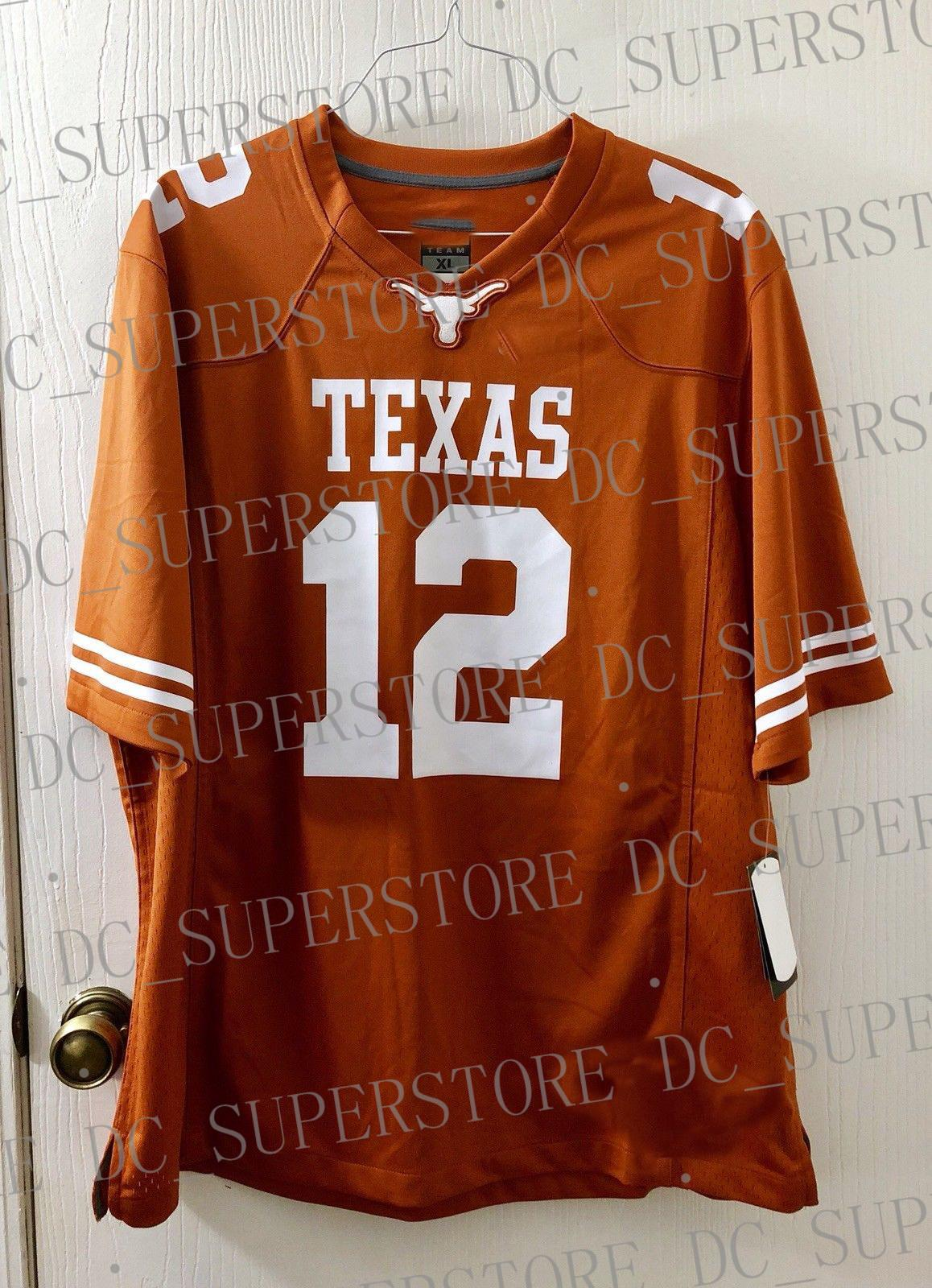Billiger kundenspezifischer Earl Thomas Texas Longhorns Jersey Burnt Orange Customized Beliebiger Name Nummer Genähter Jersey XS-5XL