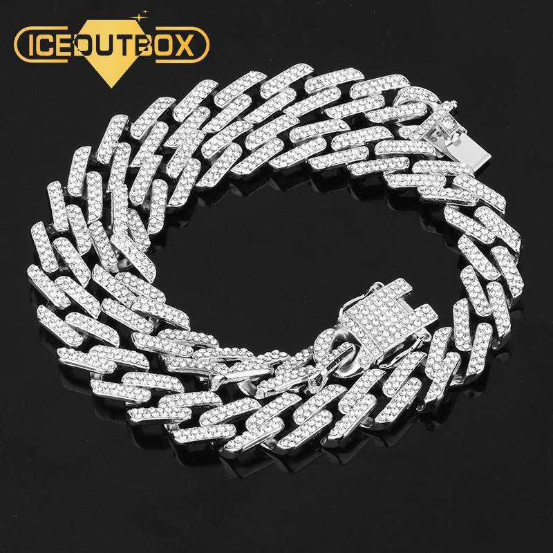 Miami Curb Cuban Chain Men Hip Hop Necklace Full Of Rhinestone Gold Silver Chain Iced Out Bling Punk Style Jewelry Dropshipping