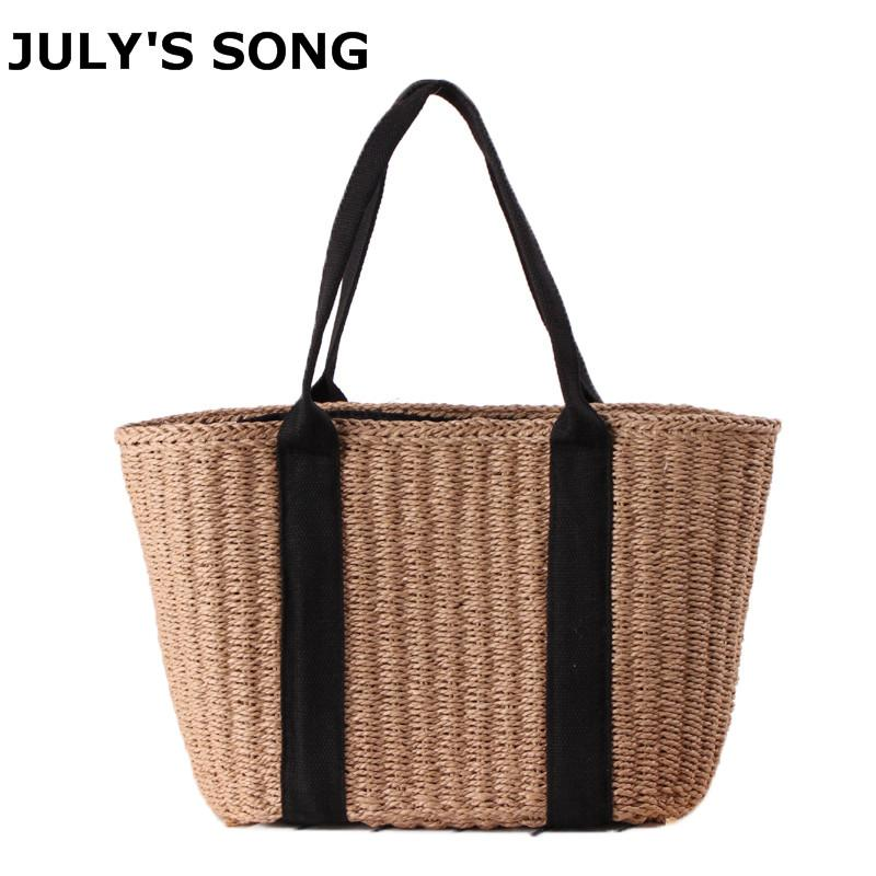d41729d08b 2019 Fashion 2018 Bohemian Straw Bags For Women Large Capacity Beach  Handbags Summer Vintage Rattan Bag Handmade Kintted Shoulder Bags Handbags  For Sale ...