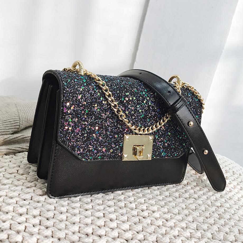 8634476d579eb European Fashion Female Sequin Square Bag 2019 New High Quality Pu Leather  Women'S Designer Handbag Chain Shoulder Messenger Bag Womens Bags Wholesale  Bags ...