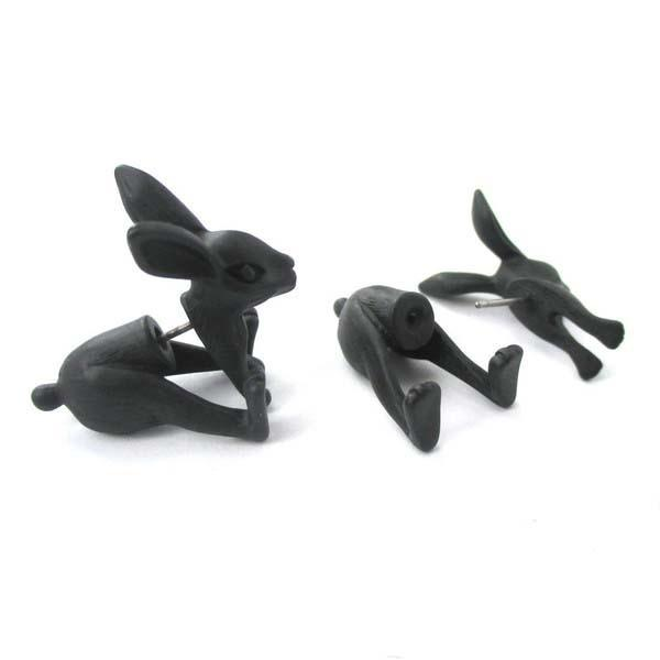 Nueva Llegada Fake Gauge Eearrings Conejo Realista Ratbbit En Forma de Animal Falso Plug Stud Pendientes para Las Mujeres ED094