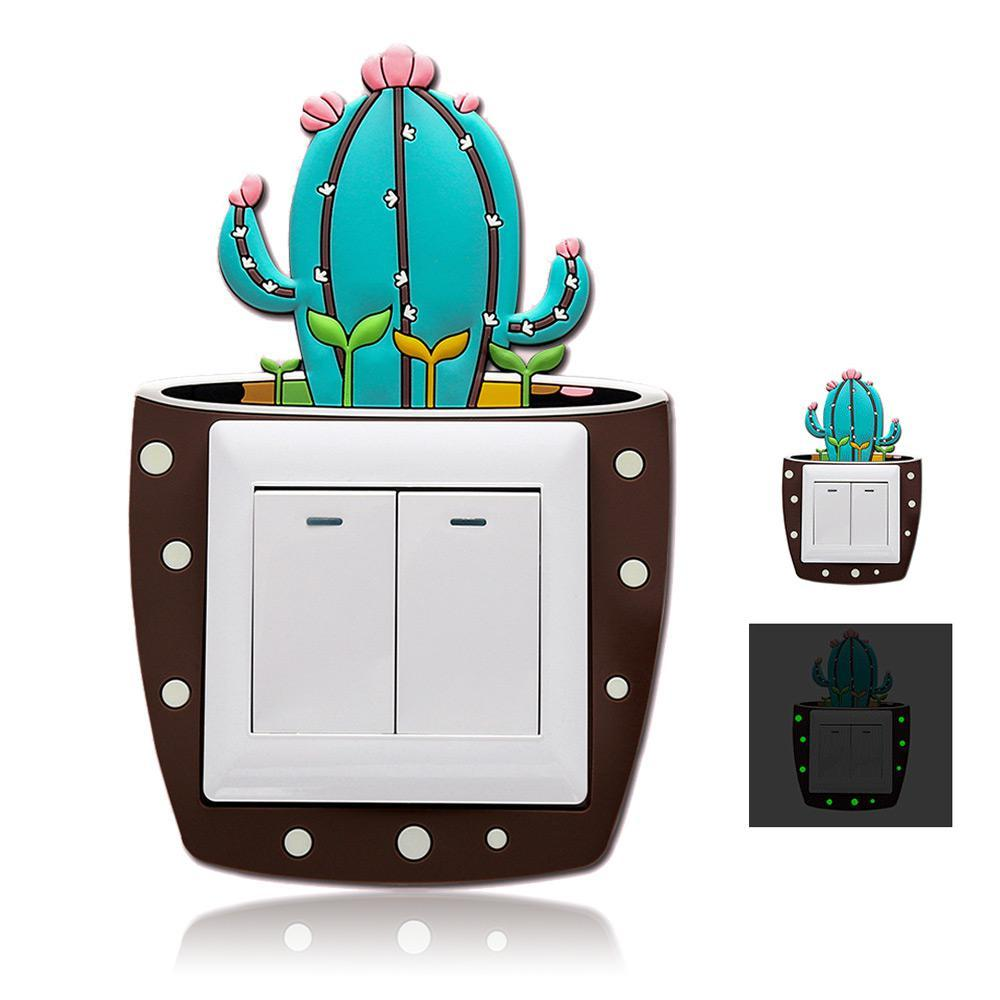 Nette Karikatur 3d Kaktus Leuchtstoffwand Silikon Ein Aus Schalter Aufkleber Kinderleuchtender Lichtschalter Ausgangshauptdekorationen