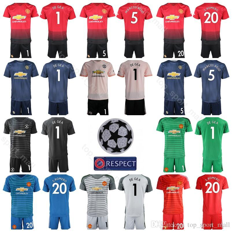 quality design c2c20 bdda4 Goalkeeper Man United 2018 2019 Soccer 1 David De Gea Jersey Set 22 Sergio  Romero 13 GRANT Football Shirt Kits Uniform