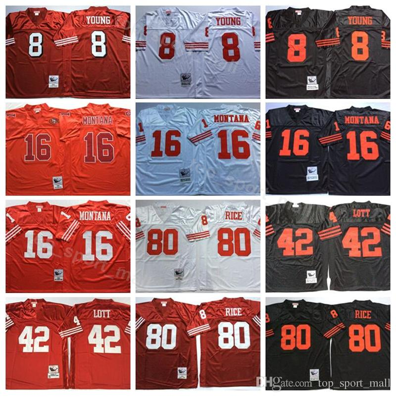 676ad36de 2019 San Francisco Vintage 49ers 8 Steve Young Jersey Men Red White 16 Joe  Montana 42 Ronnie Lott 80 Jerry Rice Football Jerseys American From ...