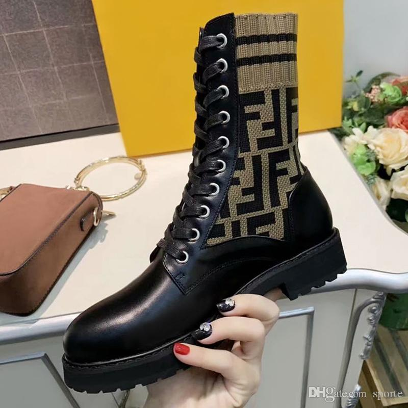 Luxury Sell Like Hot Cakes Autumn KnittedFENDIElastic Boots Women's British High-profile, But The Knees Are Thick With Lace Martin Boots