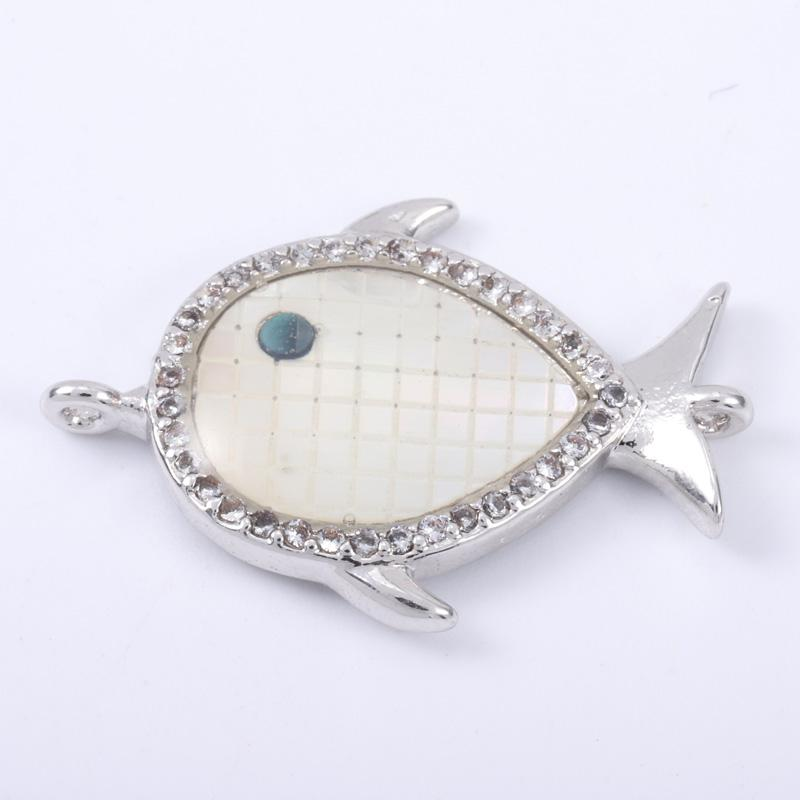 Singreal Abalone Shell Micro Pave Fish Charms Bracelet necklace Choker Pendant connectors for women DIY Jewelry making