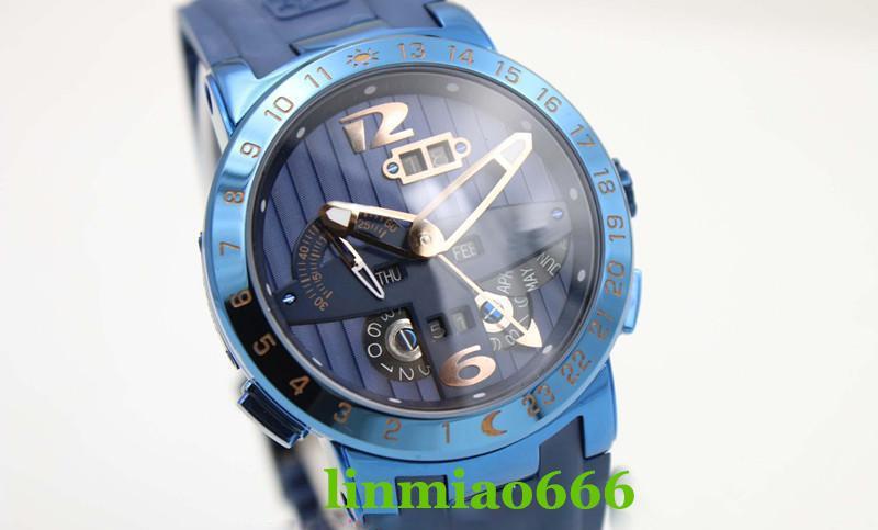 e96679b33436 Compre 2019 Más Vendido Reloj De Descuento Reloj De Coche De Los Hombres De  Acero Inoxidable Esfera Hueca Correa De Goma Azul Calendario Perpetuo Reloj  ...