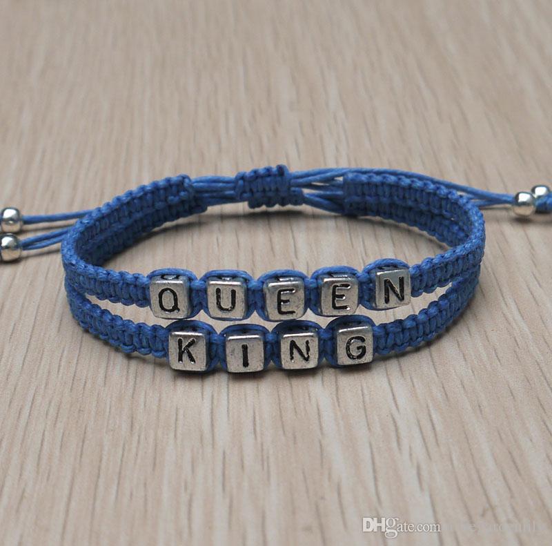 700a2d953 New King Queen Couple Bracelets Handmade Loves Bracelet Valentines Day Gifts  Boyfriend Girlfriend Jewelry James Avery Charm Bracelets Alice In  Wonderland ...