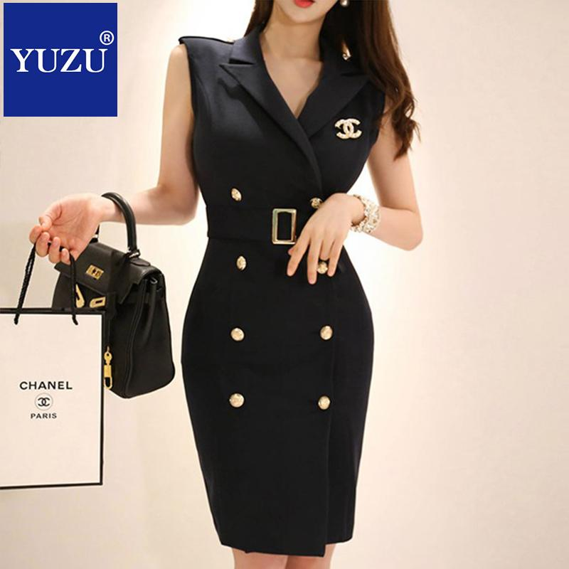 7549ae5fc92 Office Wear For Women Black Blazer Dress Summer V Neck With Belt Corsage  Double Breasted Sleeveless Knee Length Pencil Dresses Dressing Styles For  Ladies ...