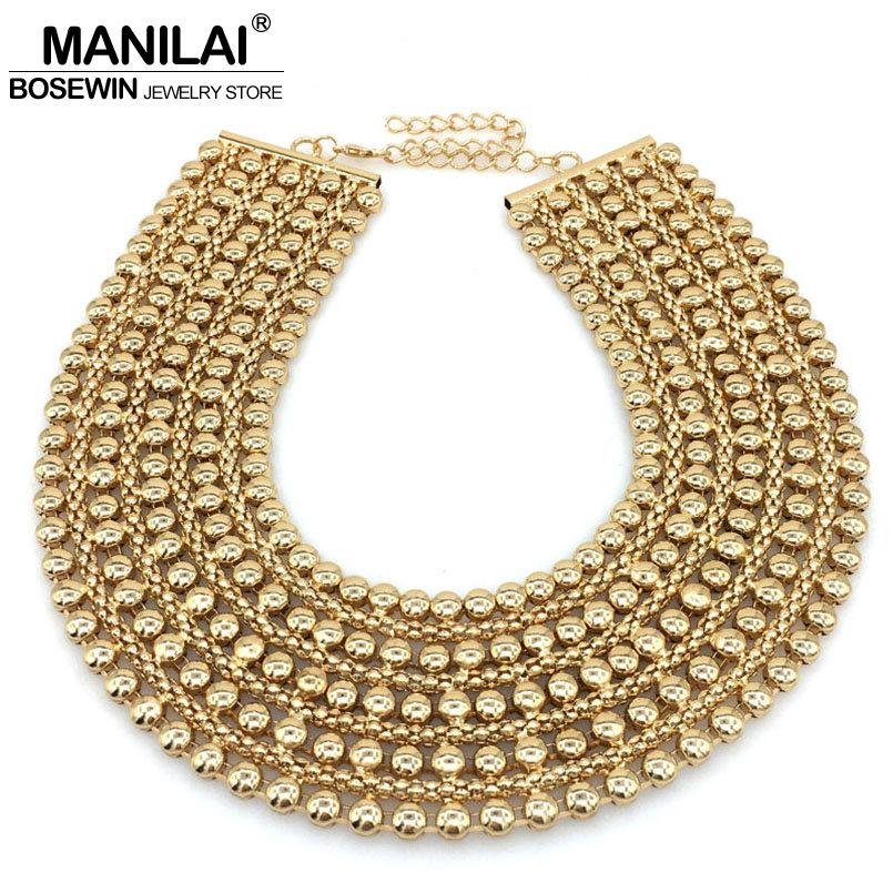 3b6c41596d66a1 Wholesale MAINILAI Chunky Metal Statement Necklace For Women Neck Bib  Collar Choker Necklace Maxi Jewelry Golden & Silver Colors Bijoux Key Necklace  Bar ...
