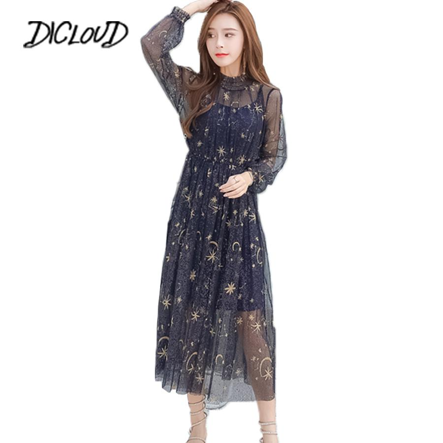 caacc09c02ff3 Sexy Mesh Summer Women 2018 Embroidered Star Pleated Dress Fashion Puff  Sleeve Ladies Long Dresses Party Vestido Clothes Q190506