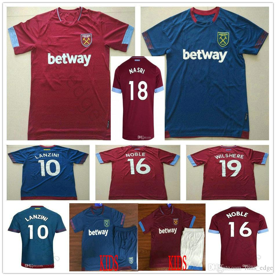 2019 West United Football Jersey Arnautovic Lanzini Snodgrass Nasri Noble  Chicharito Ayew Home Away Custom 18 19 Adult Kids Soccer Shirt UK 2019 From  ... 18f74ff2293a3