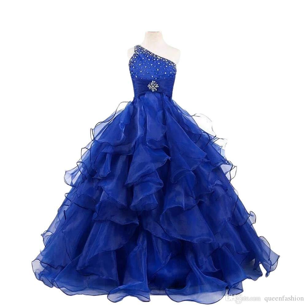 0f51cc428 One Shoulder Girls Pageant Dresses Floor Length Children Ball Gown ...
