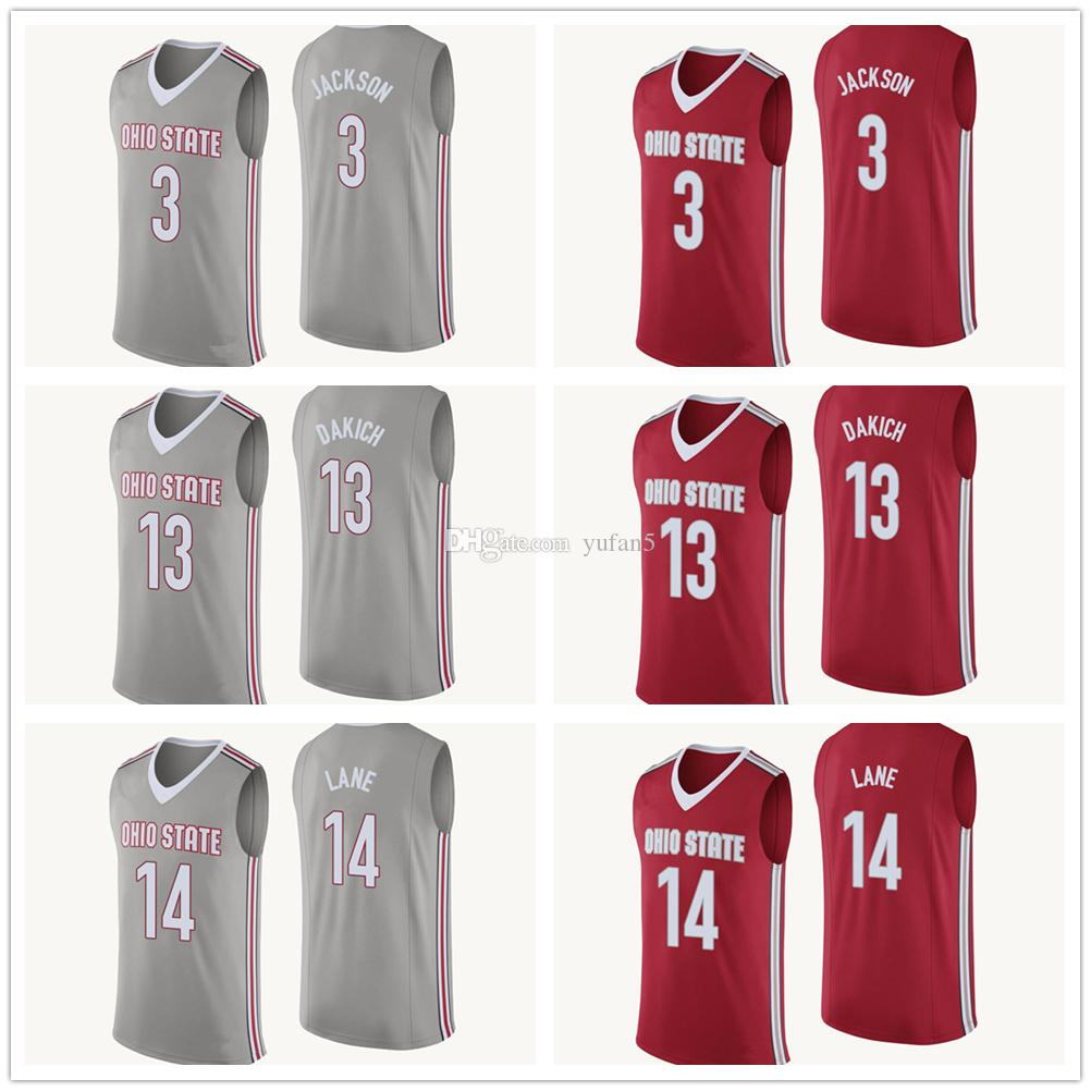 0a88ecc2 2019 Ohio State Buckeyes College #3 C.J. Jackson #13 Andrew Dakich #14 Joey  Lane Basketball Jersey Mens Stitched Custom Number Name Jerseys From  Yufan5, ...
