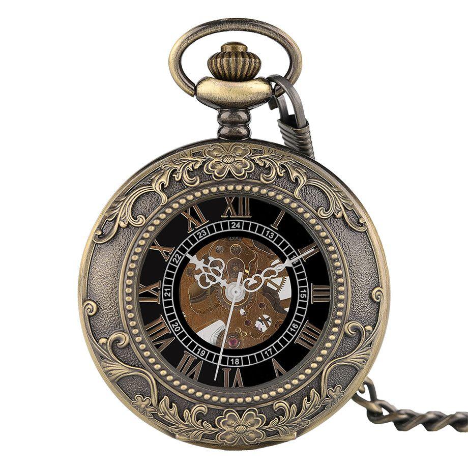 2715af1804f9c Bronze creux steampunk remontage manuel montre de poche mécanique chiffres  romains cadran chaîne antique fob horloge meilleur cadeau pour hommes ...