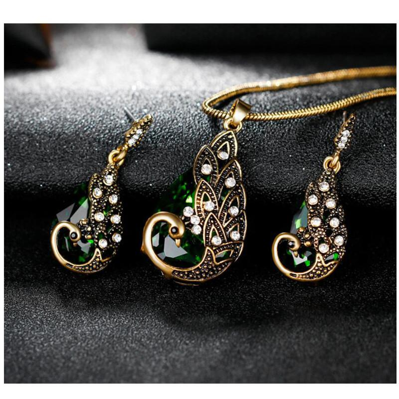 Antique Bronze Color Peacock Jewelry Set Water Drop Crystal Rhinestone Animal Jewelry For Women Earrings Necklace Set