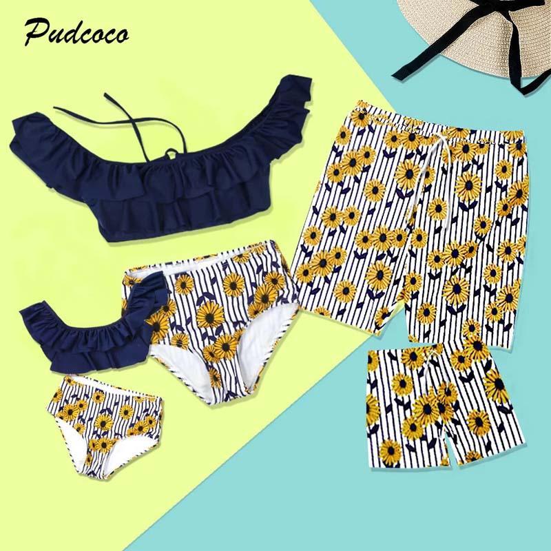 24c8737573 2019 Brand Family Matching Men Women Kids Boys Girls Sunflower Floral  Ruffle Swimsuit Swimwear Bikini Set Stripe Shorts 2 10T Mom And Baby Girl  Matching ...