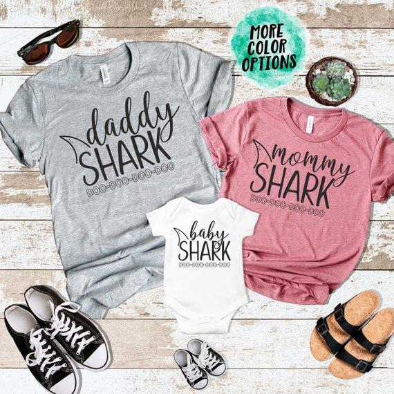 PADDY DESIGN Mommy Daddy Baby Shark DO DO Family Matching T-shirt Casual  Short Sleeve Letter Print New Mom T Shirt Drop Ship