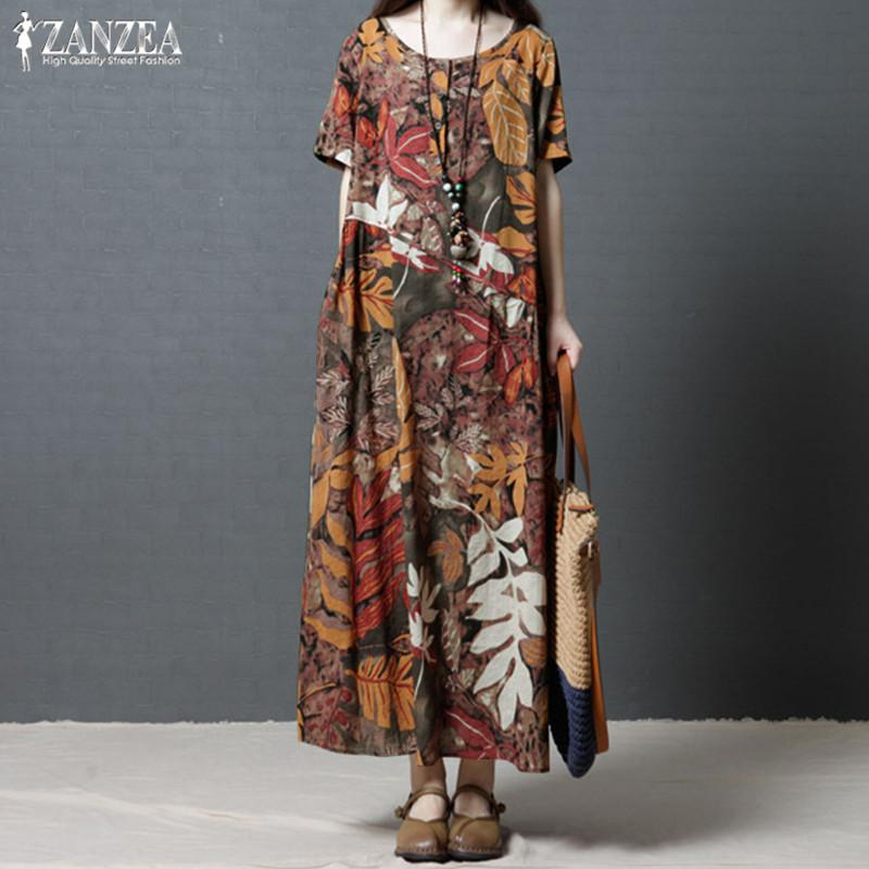 ab8bcc6e196 Plus Size Kaftan Linen Dress Women s Sundress 2019 ZANZEA Vintage Print  Maxi Dress Female Short Sleeve Summer Vestidos Robe 5XL