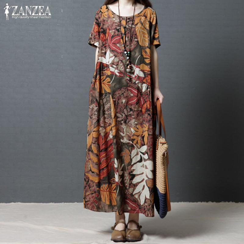 85b653471 Compre Plus Size Kaftan Vestido De Linho Vestido De Verão Das Mulheres 2019  Zanzea Vintage Print Maxi Dress Feminino Manga Curta Vestidos De Verão Robe  5xl ...