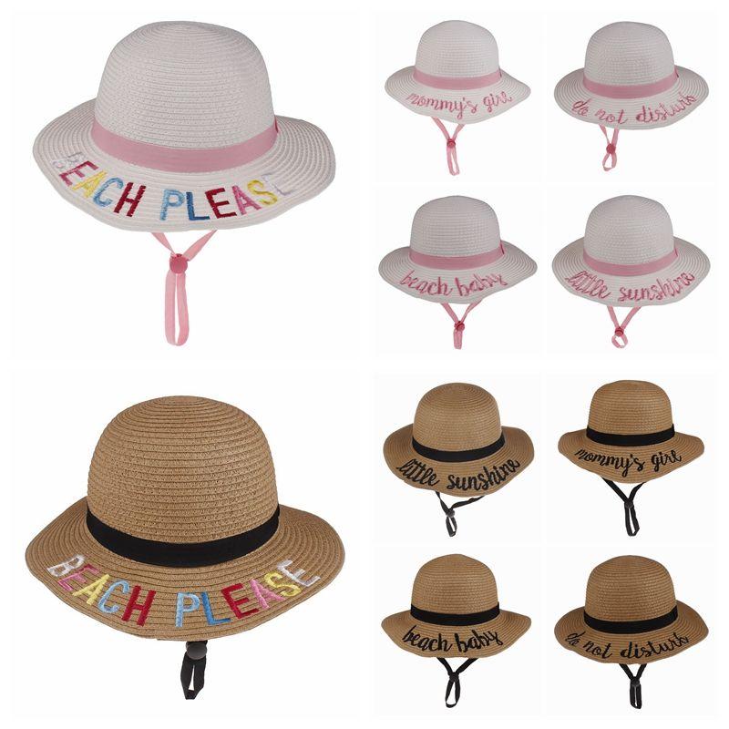 c5d69b4461ee1 Cute Kids Straw Sunhat Summer Baby Letter Embroidery Sun Cap ...