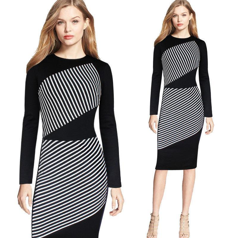 49a3ad70c962 Sexy Slim Package Hip Pencil Dress Casual Over Size Dress Wholesale New  Plus Size Women Dress Black White Striped Long Sleeved Dresses Semi Formal  Dress ...