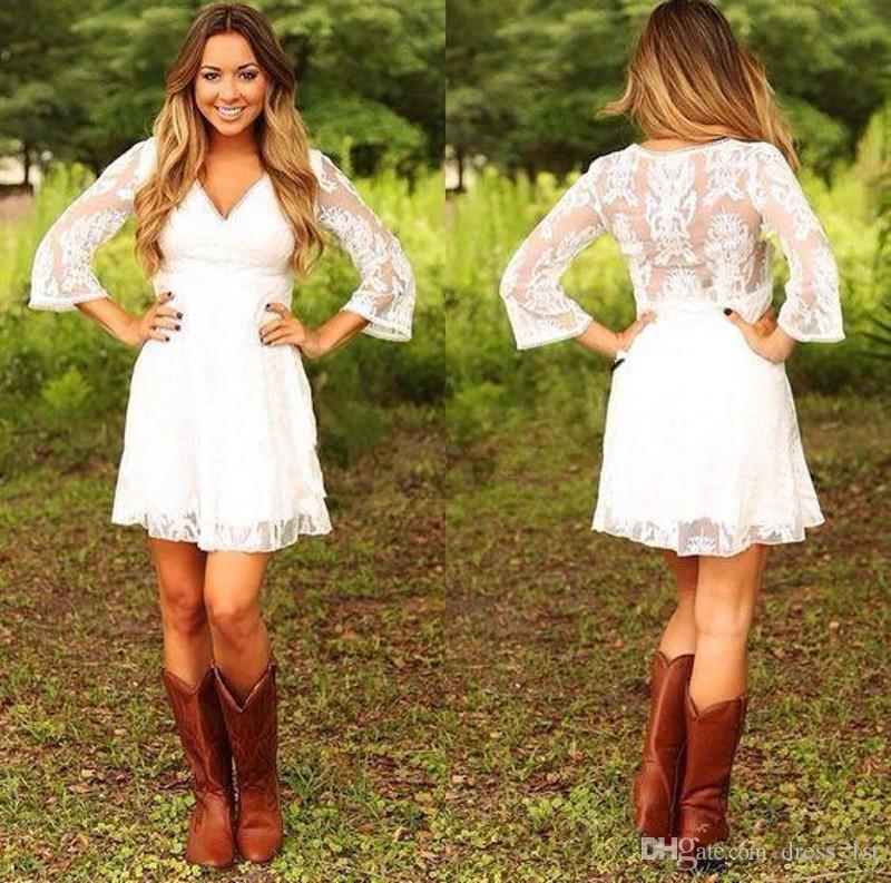 1693294939c Discount 2018 Modest Cowgirls Lace Country Wedding Dresses Short V Neck A  Line 3   4 Length Sleeves Cute Mini Bridal Gowns Wedding Dress For Sale  Wedding ...