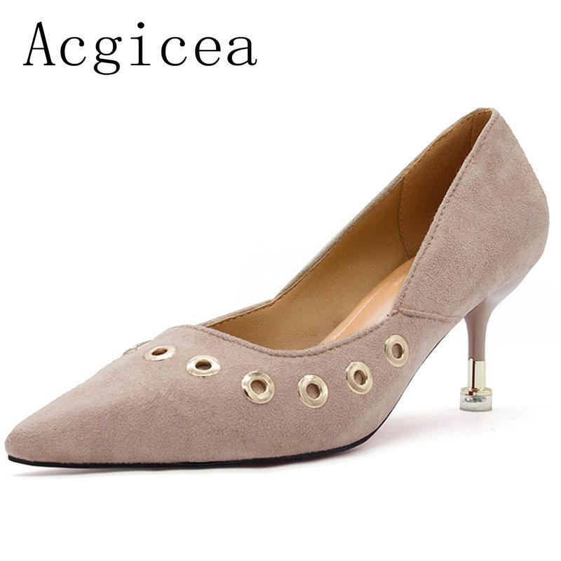 Compre Diseñador De Zapatos De Vestir 2019 Verano Nuevas Mujeres Dulces  Decoración De Metal Bombas De Alta Calidad De Moda Mujer Mujer Escolar  Calzado ... 4b5cc0a015fa