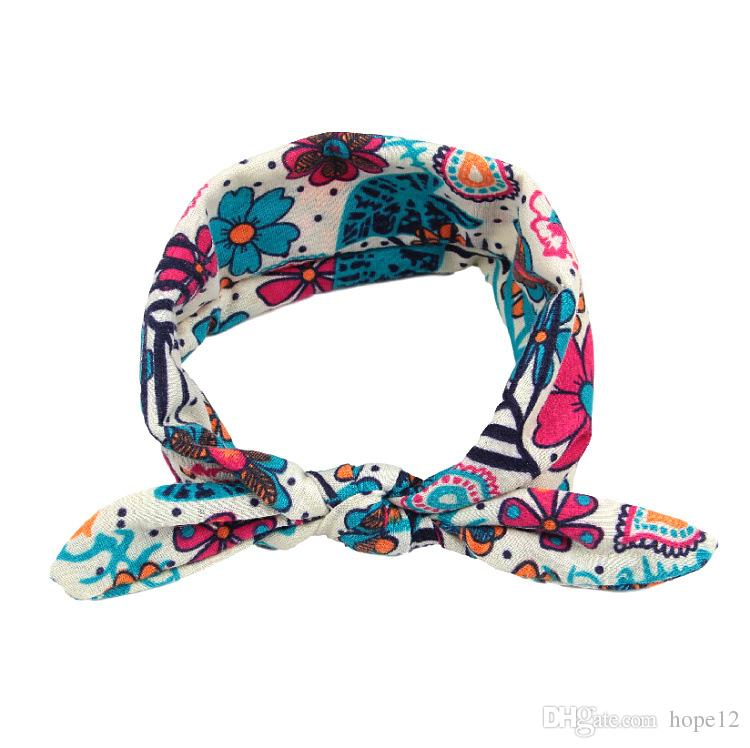 Bohemian Headband Cotton Girl Baby Bowknot Flower Turban Twist Head Wrap Twisted Knot Soft Hair Band Kids Headbands Bandanas