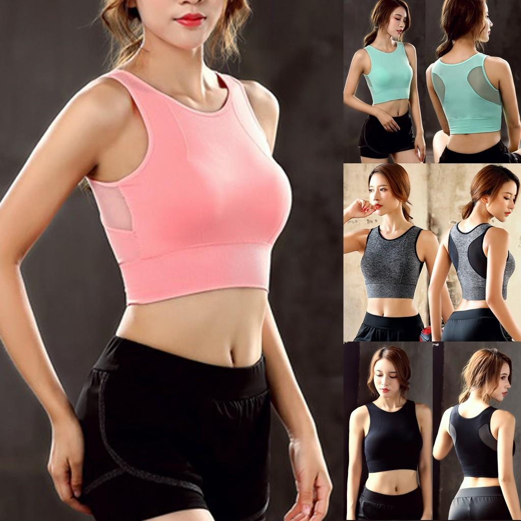 28f19bd9f4c Crop Top Women Athletic Running Sports Vest Cropped Tops Gym Fitness  Seamless Padded Vest Girls Tank Tops 5 Color S-XL#H45
