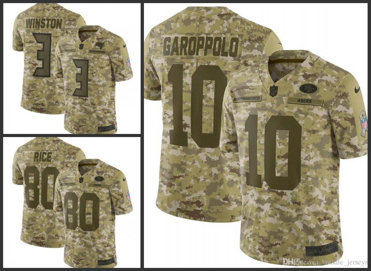 dc6846b9 San Francisco Mens 49ers #10 Garoppolo 80 Rice Buccaneers #3 Winston Camo  Salute to Service Retired Player Limited Jersey