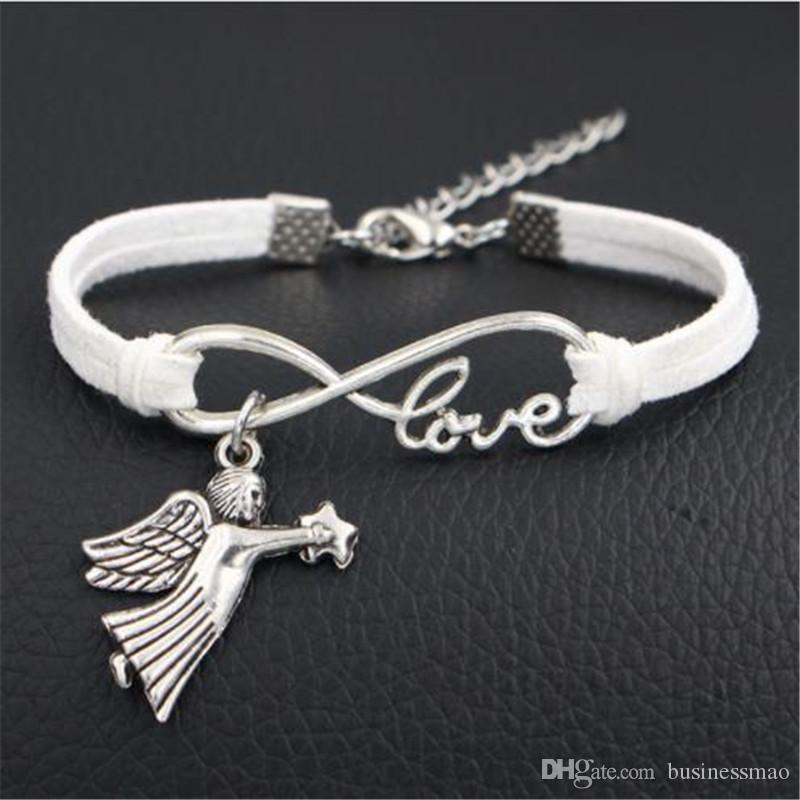 2019 New Korean White Leather Suede Rope Bracelets For Women Men Infinity Love Star Fly Angel Wing Pendant Statement DIY Jewelry Accessories