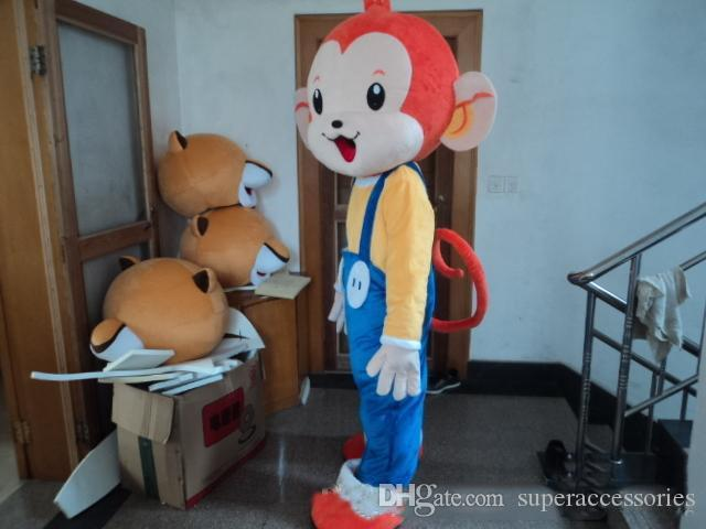 Lovely Monkey Costumes Holloween Mascot Cartoon Mascot Costume Customized Free Shipping Adult Size
