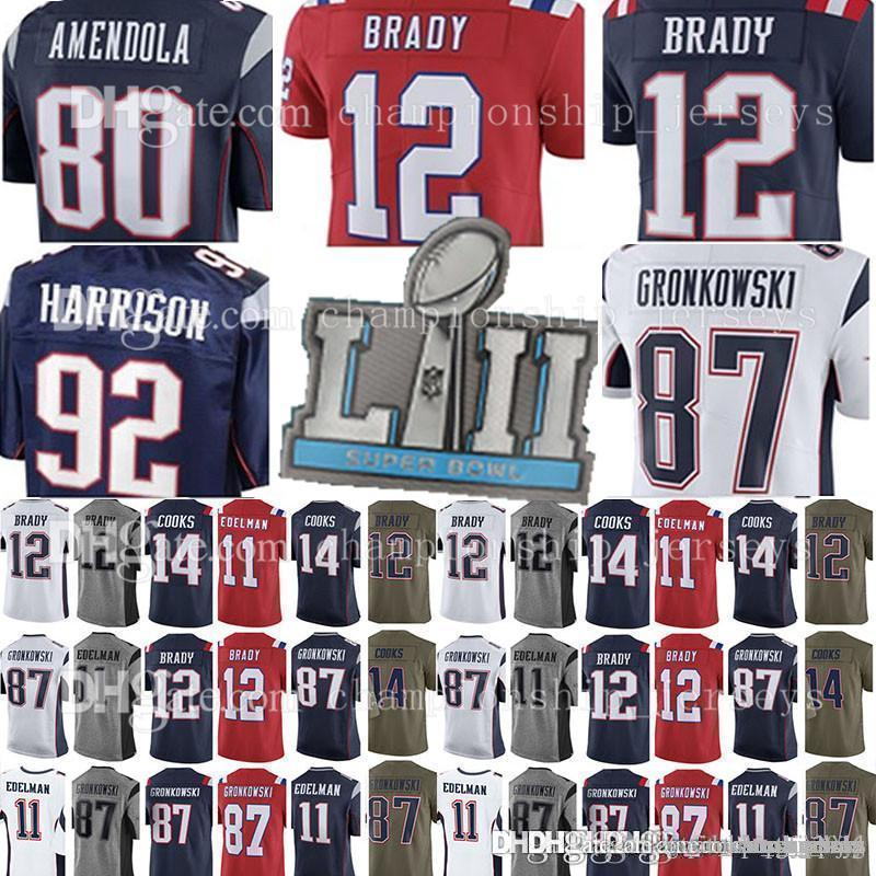 buy popular 71e99 634dc New Jersey 12 Tom Brady 92 James Harrison 87 Rob Gronkowski Patriot Jersey  11 Julian Edelman 14 Brandin Cooks Jerseys