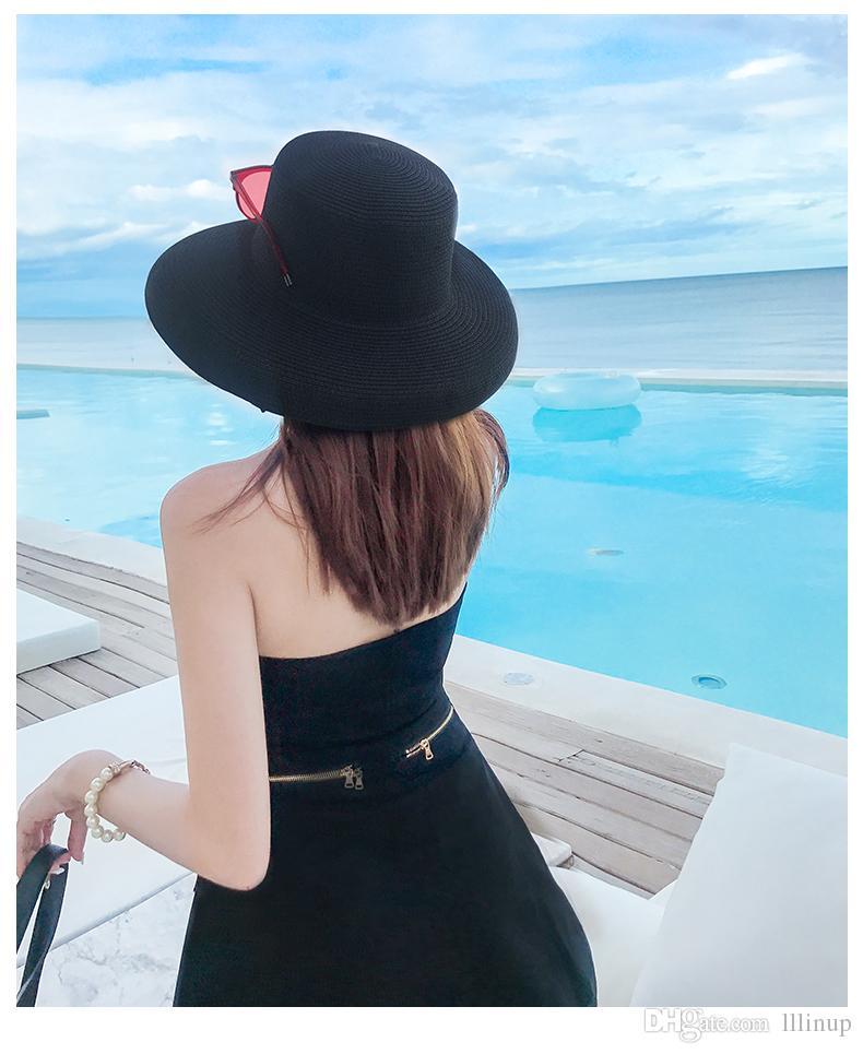 85c16bb1dd9 French Retro Hepburn Wind Hat Female Summer Beach Sunscreen Sun Hat Straw Sun  Summer Seaside Hat Black Men Hats Baby Sun Hat From Lllinup