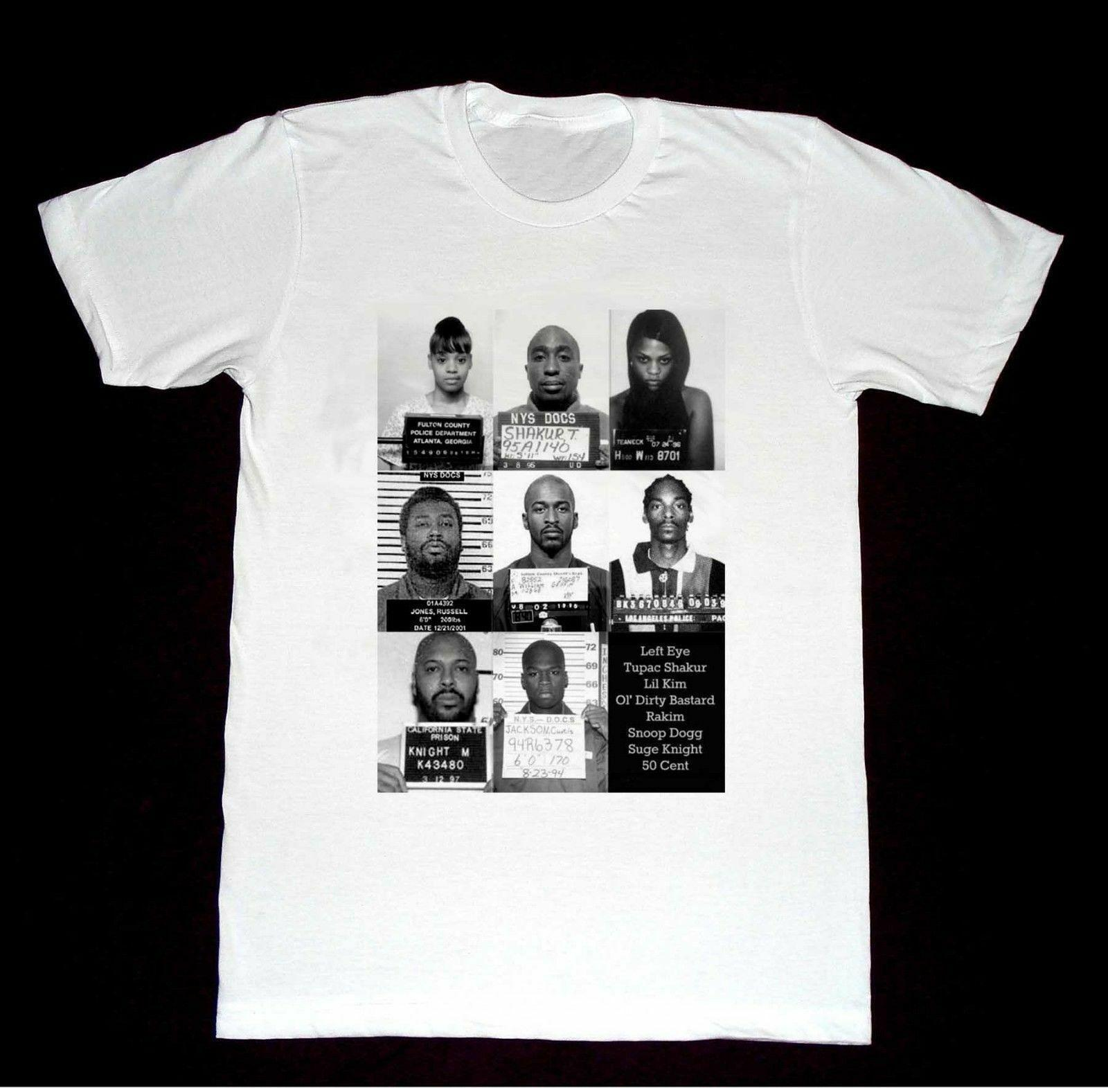Hip Hop Mugshots Tupac Left Eye Suge Snoop Tshirt new Funny free shipping  Unisex Tshirt