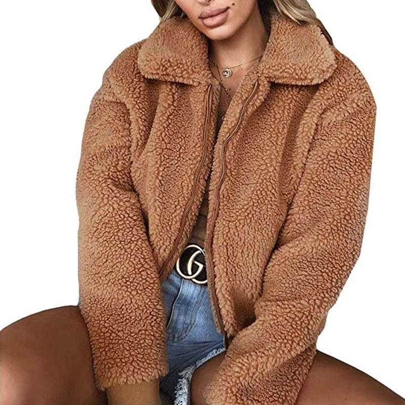 e733537a29c Women Faux Fur Jacket Coat 2018 Autumn Winter Warm Fluffy Teddy Coat  Oversized Casual Zipper Pockets Jacket Female Outerwear 3XL Online with   48.78 Piece on ...