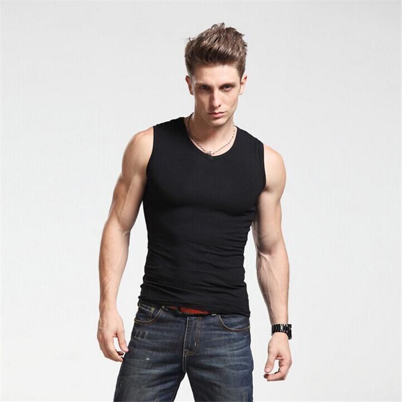 4986ff319a98d 100% Cotton Men Tank Top Brand Clothing Undershirt Bodybuilding Tank Top Men  Singlet Fitness Mens Sleeveless Vest Men Tank Tops T Shirt Humor T Shirt  With ...
