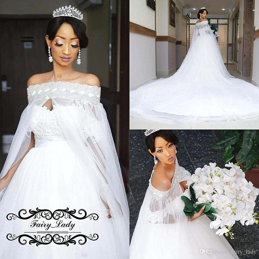Discount Gorgeous Cloak Cape Wedding Dresses For Women 2019 Major Beading  Beads Long Chapel Train Puffy A Line White Tulle Bridal Dress Gown Wedding  Dresses ... 9f280891678f