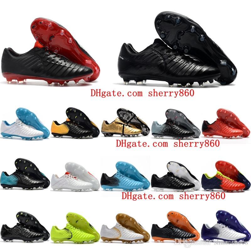 buy popular 22123 bae2b Acheter Chaussures De Football En Cuir 2019 Tiempo Legend VII FG Chaussures  De Soccer Pour Hommes Chaussures De Football Tiempo Totti X Roma Scarpe  Calcio ...