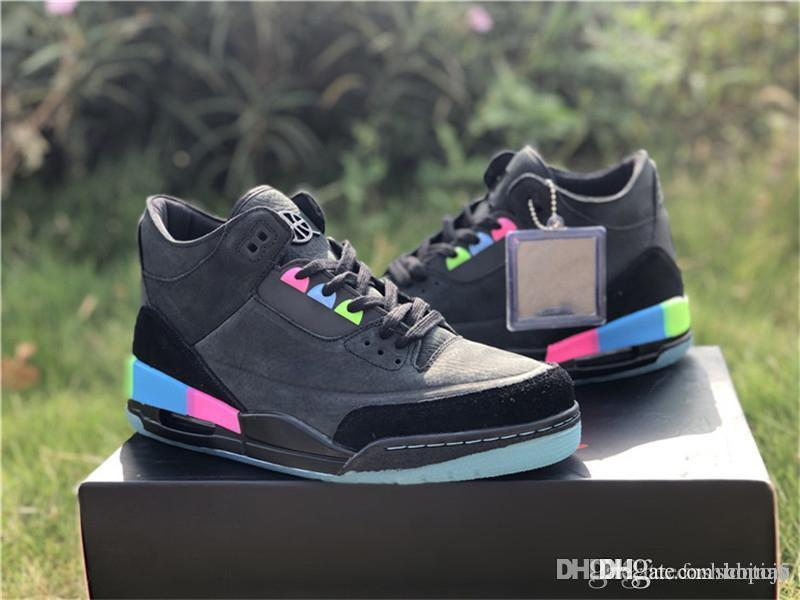 3d12c772de8 2019 2018 New Release 3 Quai 54 3S Black Suede Paris Men Basketball Shoes  Authentic Quality Pink Blue Green Sneakers With Box AT9195 001 3Jordan From  China5 ...