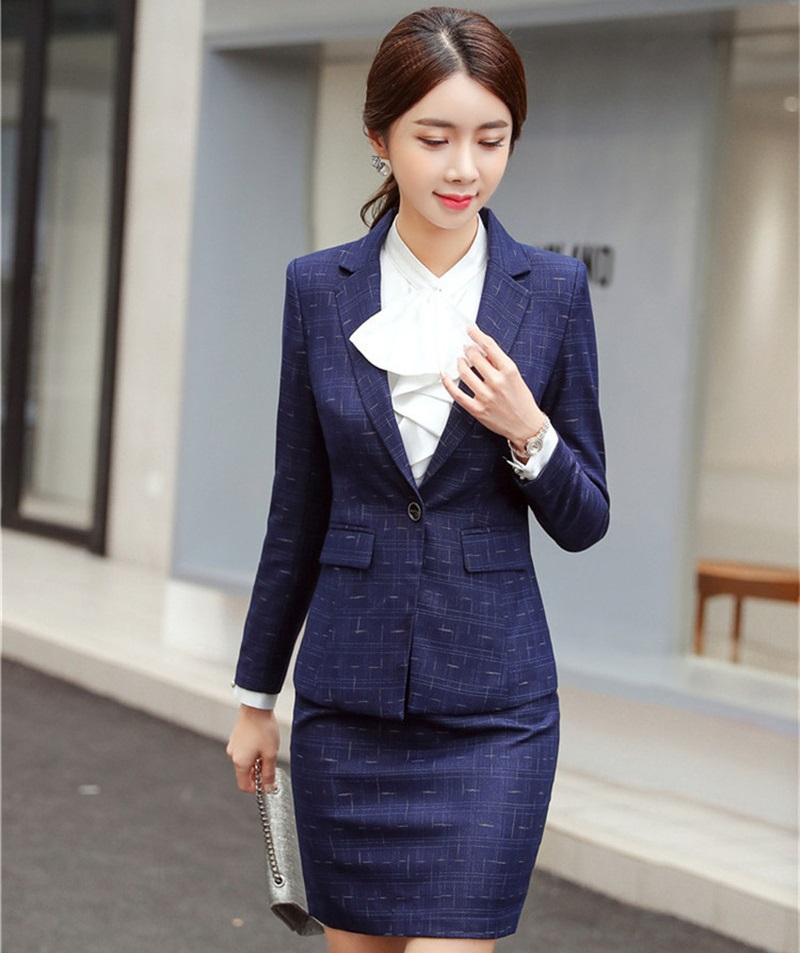 3a4e4f92f Moda Estilos de uniformes de vino Blazers formales Trajes con chaquetas y  faldas Señoras Oficina Ropa de trabajo laboral Trajes de falda Primavera ...