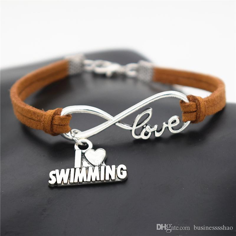 6725b3e4e525 Compre Moda Casual Playa Antiguo Corazón De Plata Amo Nadar Infinito Amor  Encanto Pulseras De Gamuza De Cuero Marrón Para Natación Amante Joyería  Regalos A ...