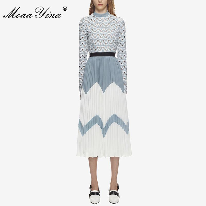 2df5fa4f361ca Moaayina 2018 Fashion Designer Runway Midi Dress Summer Women Stand Collar  Long Sleeve Hollow Out Patchwork Pleated Casual Dress Y190507