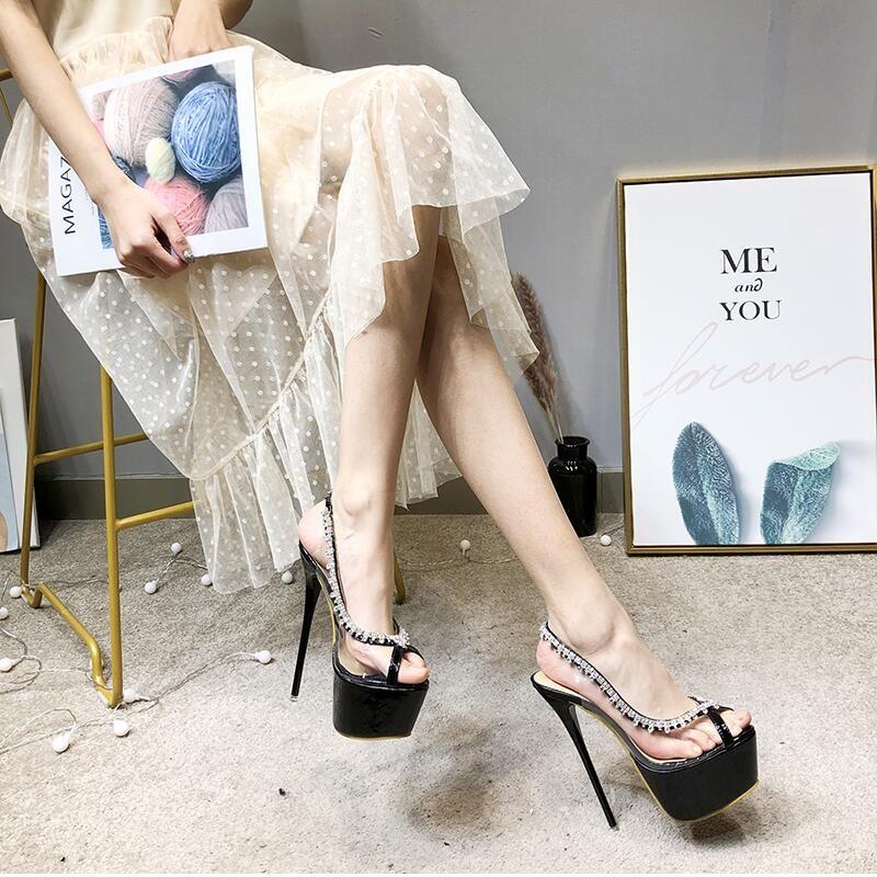 492cc5c226de Free Ship 2019 New Sexy Transparent Upper Rhinestone Platform Pumps Thin  Heel 16cm Women High Heels Peep Toes Single Shoes Black Silver Brown Shoes  Strappy ...