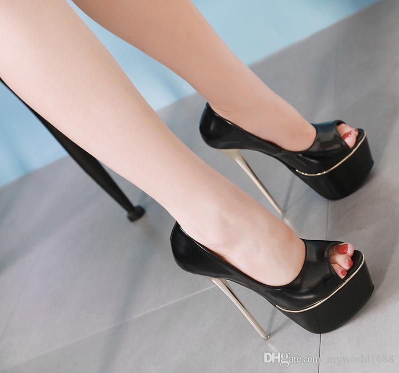 d8156f7a5c Ladies Pumps 16cm High Heels Party Wedding Shoes Sexy Open Toe Platforms  Shoes Spring Office Ladies Heels Fashion Black Pumps Australia 2019 From ...