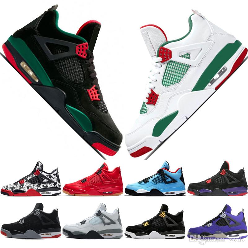 b2a75bad897b 2019 2019 Jumpman 4 NRG Hot Punch Mens Basketball Shoes Designer Black  White Pizzeria 4s Tattoo Singles Day Black Gum Fire Red Sports Sneakers  From Weile