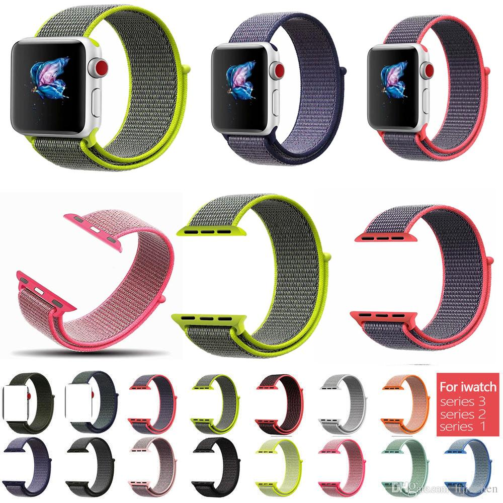 Banda de reloj de nylon tejida deportiva para Apple Watch Series 4 3 2 1 40 44mm 38 42mm