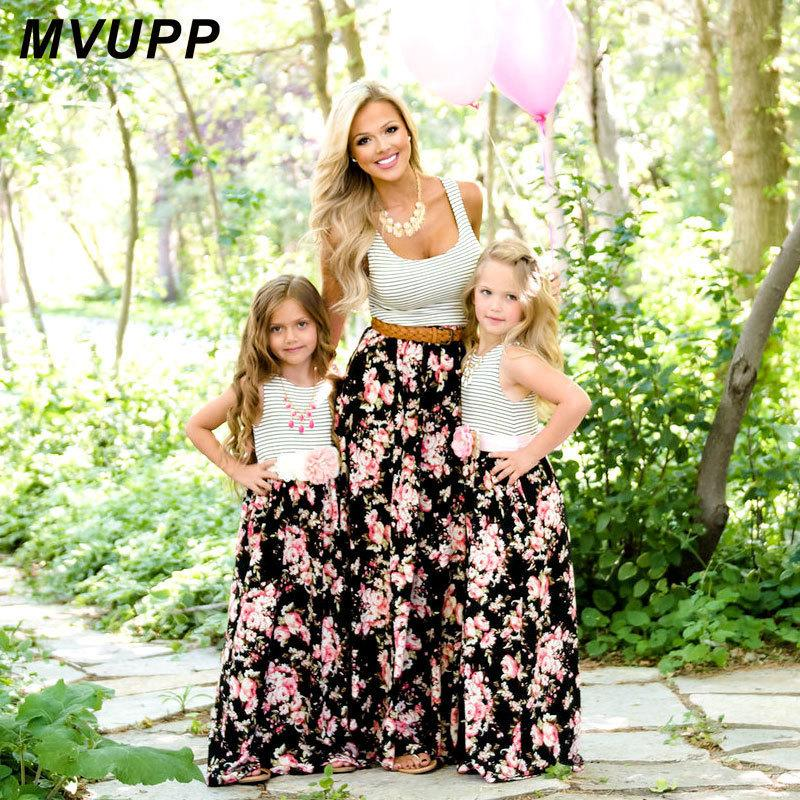 Mvupp Mommy And Me Family Matching Mother Dresses Clothes Striped Mom Daughter Dress Kids Parent Child Outfits Look Q190521