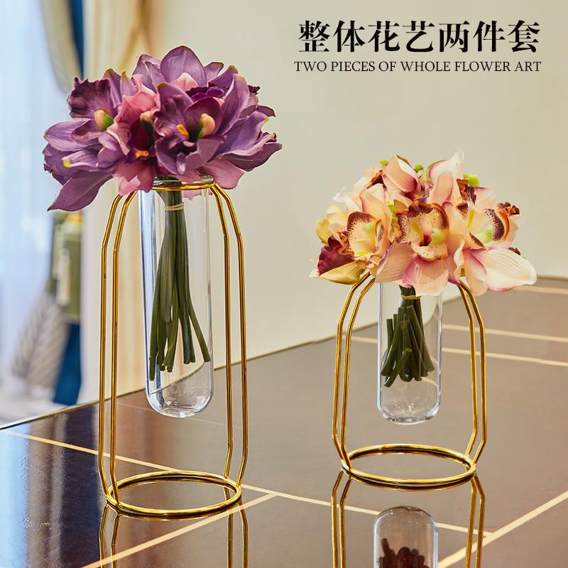 Nordic Creative Metal Glass Test Tube Flowers Vase Home Decor Crafts Room Decoration Dining